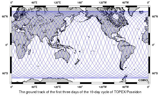 Plot of the first three days of the TOPEX/Poseidon ground track